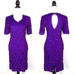 Vintage Purple Sequin Cocktail Dress